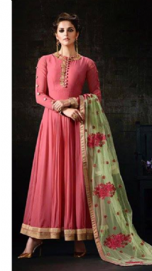 Pretty Pink Suit With Contrast Dupatta